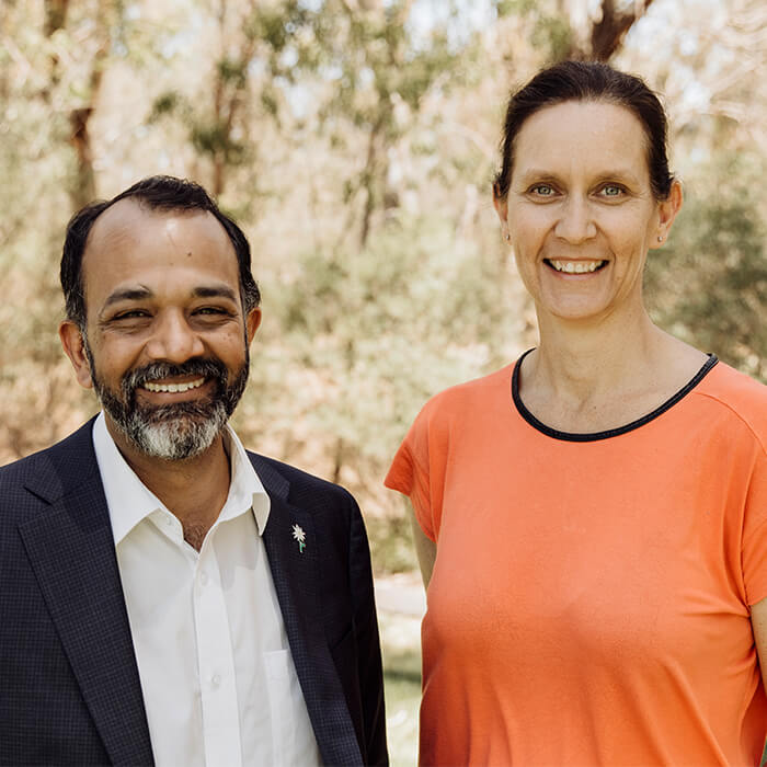 Dr Ravi Bhat and Melissa Metcalf